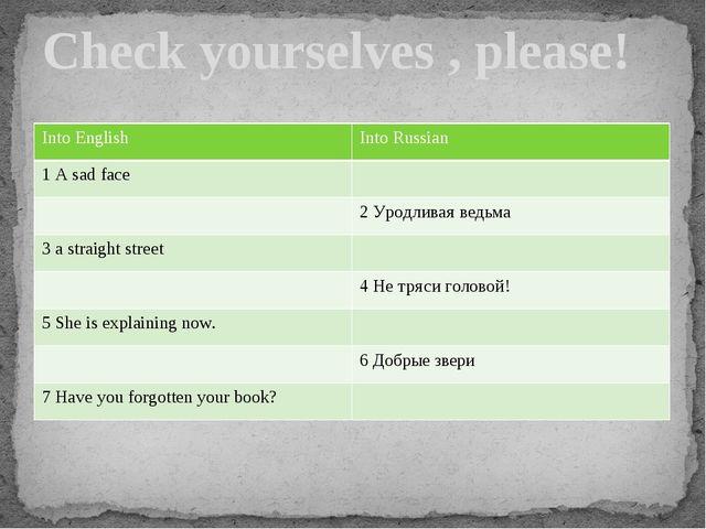 Check yourselves , please! Into English Into Russian 1 A sad face 2Уродливаяв...