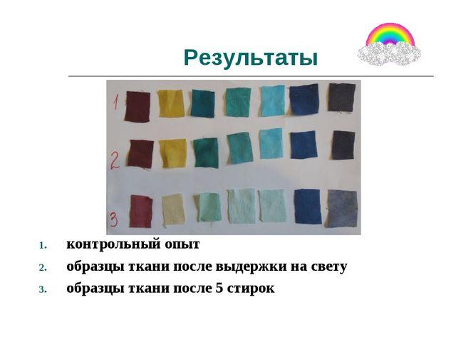 Результаты контрольный опыт образцы ткани после выдержки на свету образцы тка...