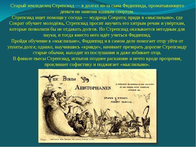Старый земледелец Стрепсиад — в долгах из-за сына Фидиппида, проматывающего д...