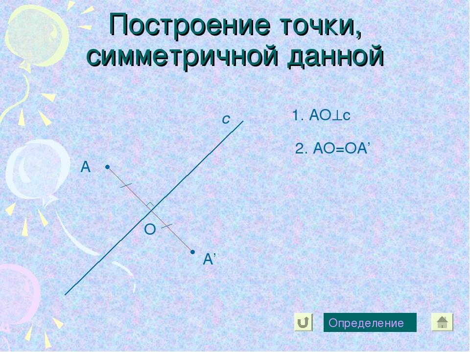 Построение точки, симметричной данной А с А' Определение 1. АОс О 2. АО=ОА'