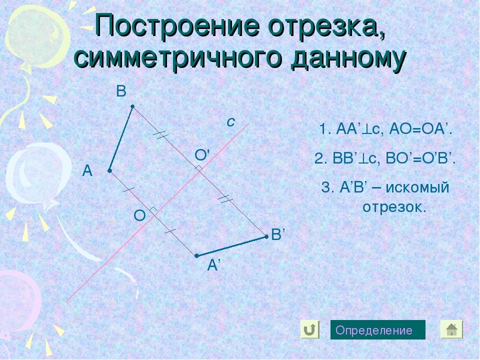 Построение отрезка, симметричного данному А с А' В В' Определение O O' АА'с,...