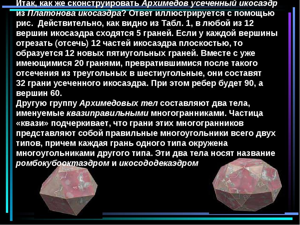 Итак, как же сконструировать Архимедов усеченный икосаэдр из Платонова икосаэ...