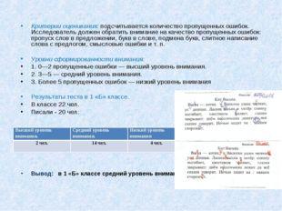 Критерии оценивания: подсчитывается количество пропущенных ошибок. Исследо