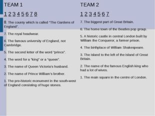 "TEAM 1 1 2 3 4 5 6 7 8 8. The county which is called ""The Gardens of England"""
