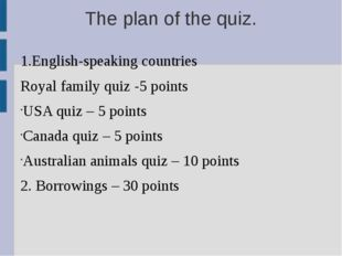 The plan of the quiz. 1.English-speaking countries Royal family quiz -5 point