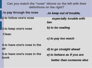 "Can you match the ""nose"" idioms on the left with their definitions on the rig"