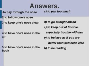 Answers. to pay through the nose 2.to follow one's nose 3.to keep one's nose