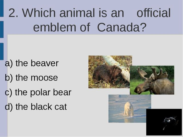 2. Which animal is an 	official emblem of 	Canada? a) the beaver b) the moose...