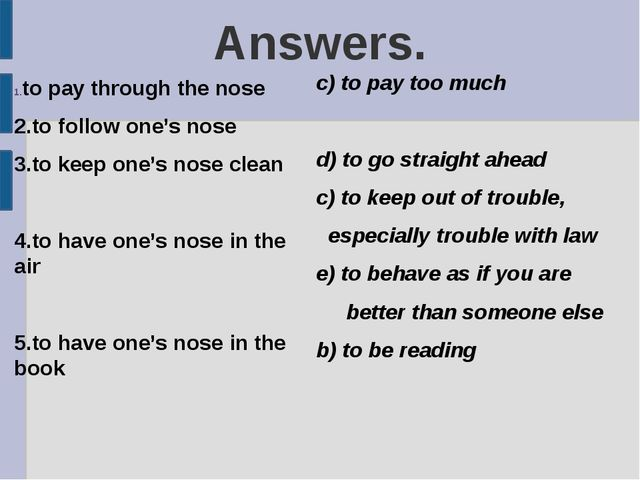 Answers. to pay through the nose 2.to follow one's nose 3.to keep one's nose...