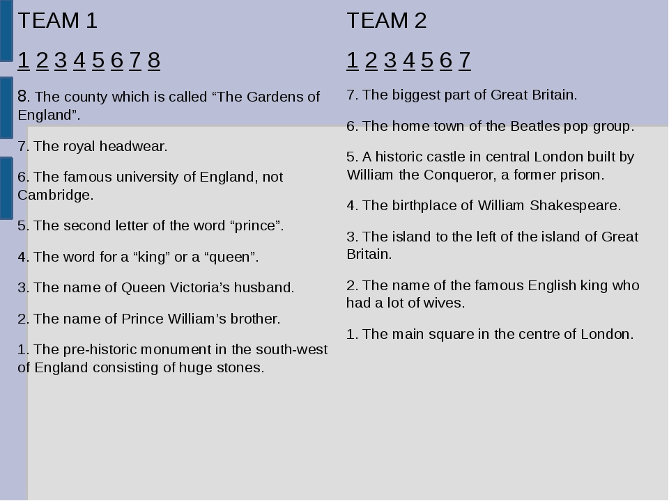 "TEAM 1 1 2 3 4 5 6 7 8 8. The county which is called ""The Gardens of England""..."