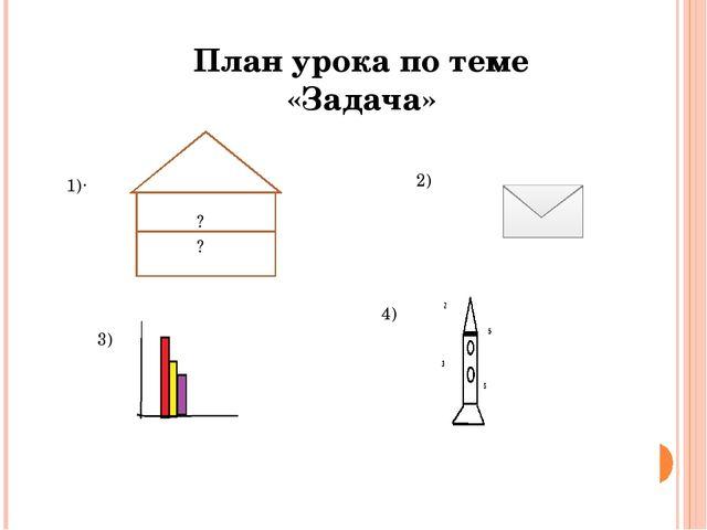 План урока по теме «Задача» . 1) 2) 3) 4) з Задача а 88? ? ?