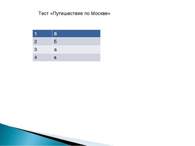 Тест «Путешествие по Москве» 1б 2б 3а 4в
