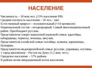 НАСЕЛЕНИЕ Численность – 18 млн.чел. (13% населения РФ) Средняя плотность насе