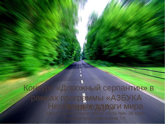 Необычные дороги мира Автор: Галлямов Булат, МБОУ «СОШ №9» 2В класс Руководит...