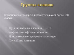 Функциональные клавиши F1-F12 Алфавитно-цифровые клавиши Дополнительная цифро