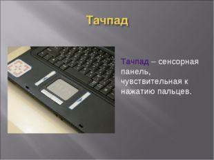 Тачпад – сенсорная панель, чувствительная к нажатию пальцев.