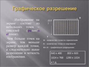 Изображение на экране состоит из небольших точек – пикселей (picture's eleme