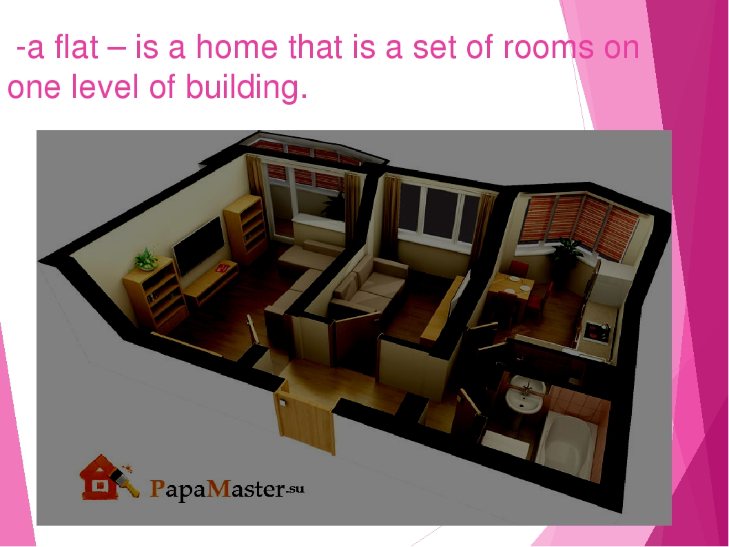 -a flat – is a home that is a set of rooms on one level of building.