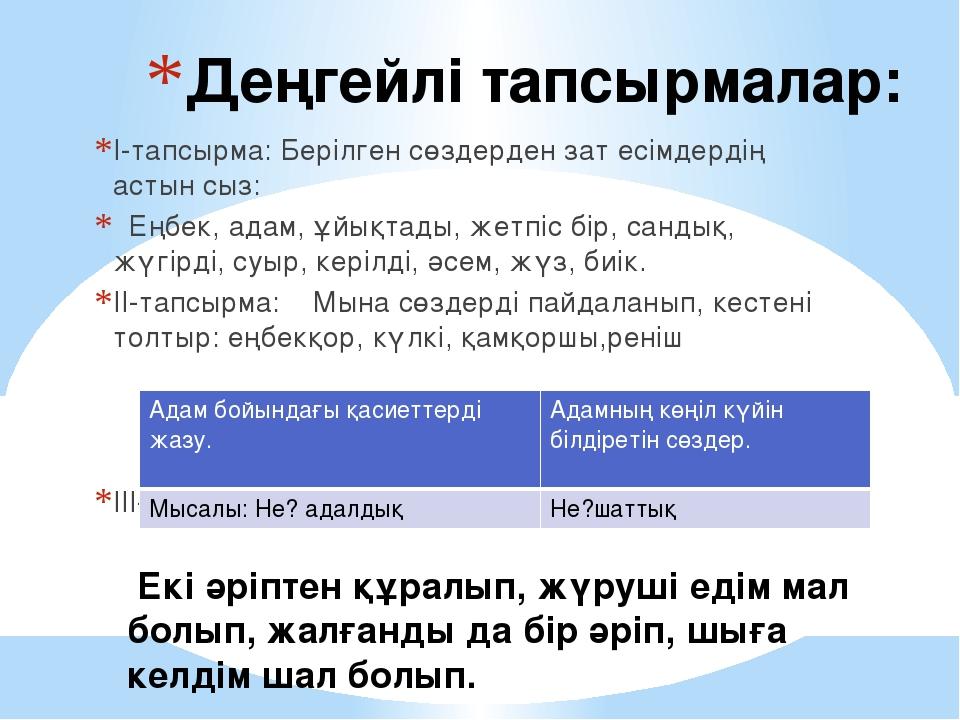 І-тапсырма: Берілген сөздерден зат есімдердің астын сыз: Еңбек, адам, ұйықтад...