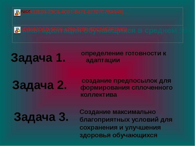 Задача 1. определение готовности к адаптации создание предпосылок для формир...