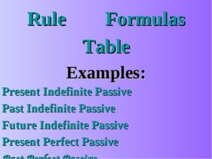 Rule		 Formulas Table Examples: Present Indefinite Passive Past Indefinite Pa