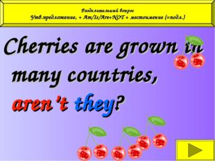 Cherries are grown in many countries, aren't they? Разделительный вопрос Утв