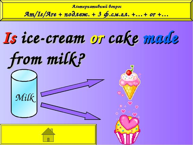 Is ice-cream or cake made from milk? Milk Альтернативный вопрос Am/Is/Are +...