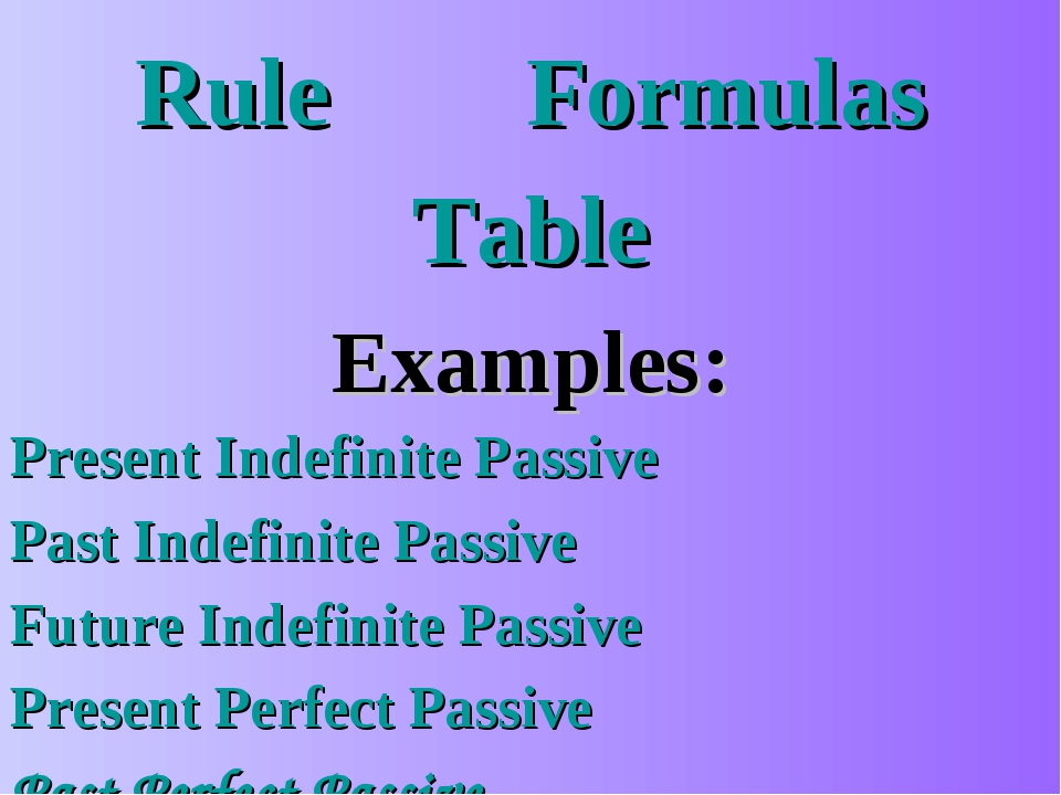 Rule		 Formulas Table Examples: Present Indefinite Passive Past Indefinite Pa...