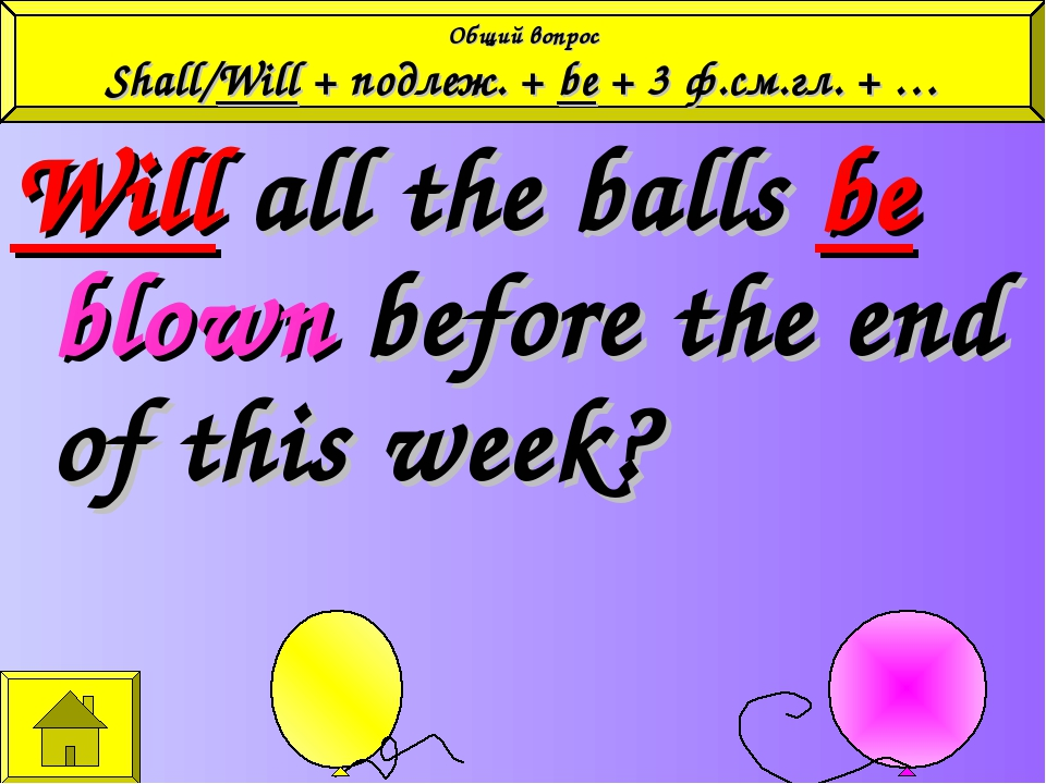 Will all the balls be blown before the end of this week? Общий вопрос Shall/W...