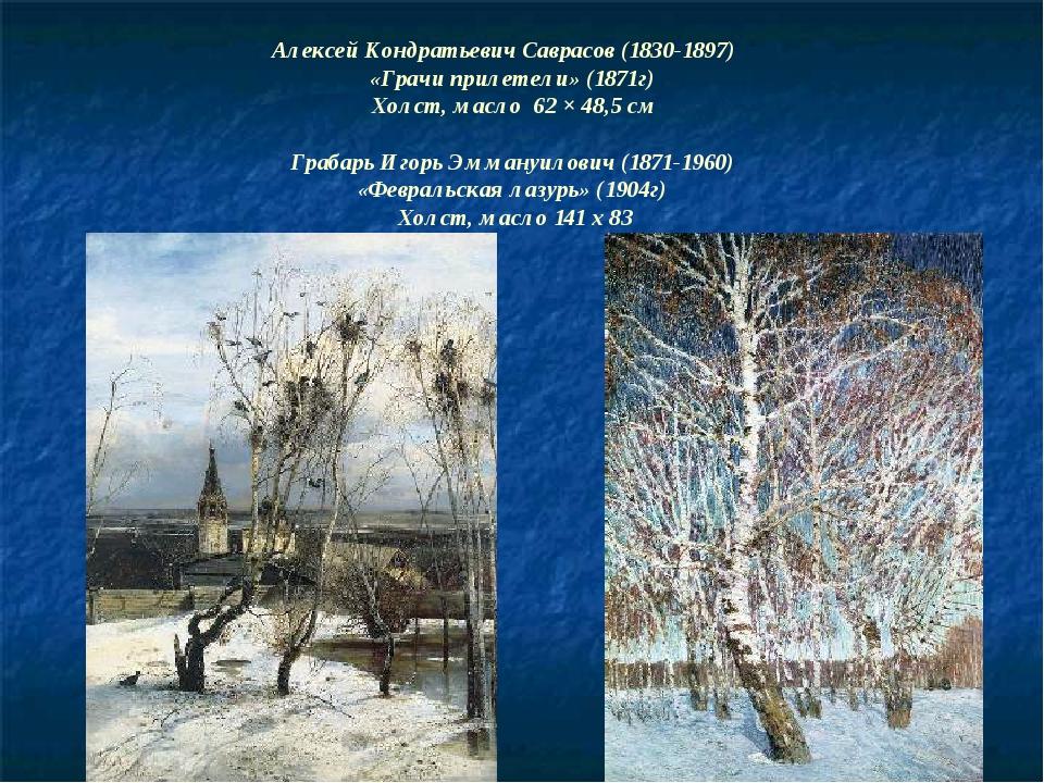 Алексей Кондратьевич Саврасов (1830-1897) «Грачи прилетели» (1871г) Холст, ма...