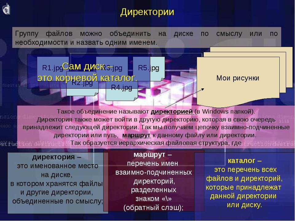 Директории Такое объединение называют директорией (в Windows папкой). Директо...