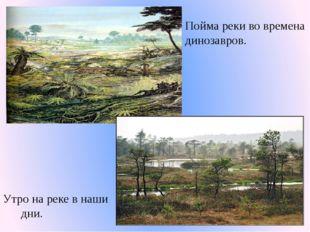 Пойма реки во времена динозавров. Утро на реке в наши дни.