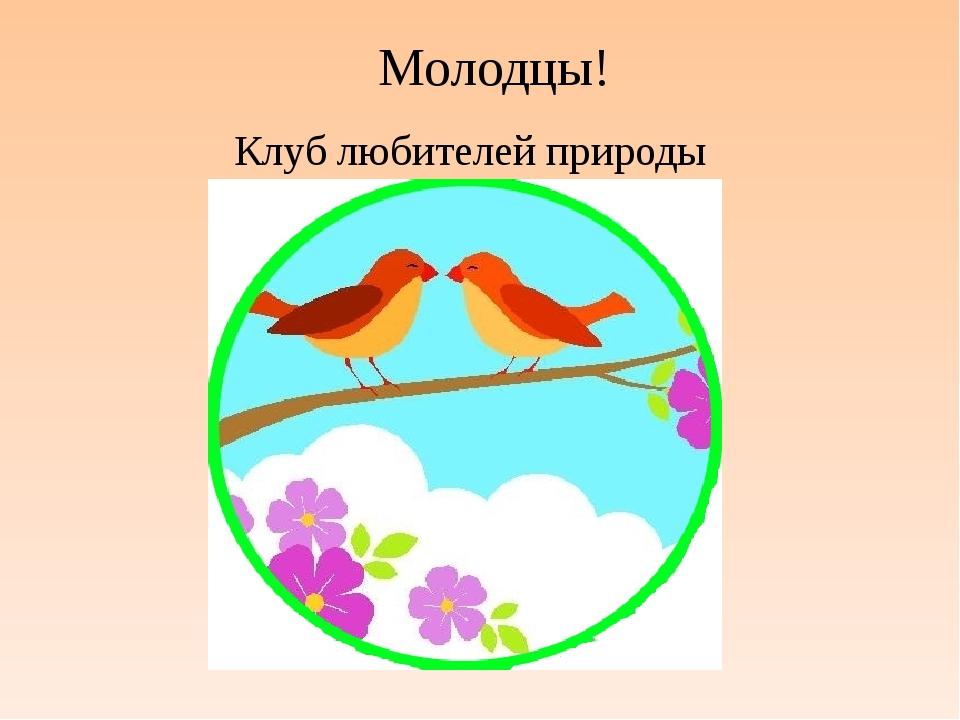 Молодцы! Клуб любителей природы