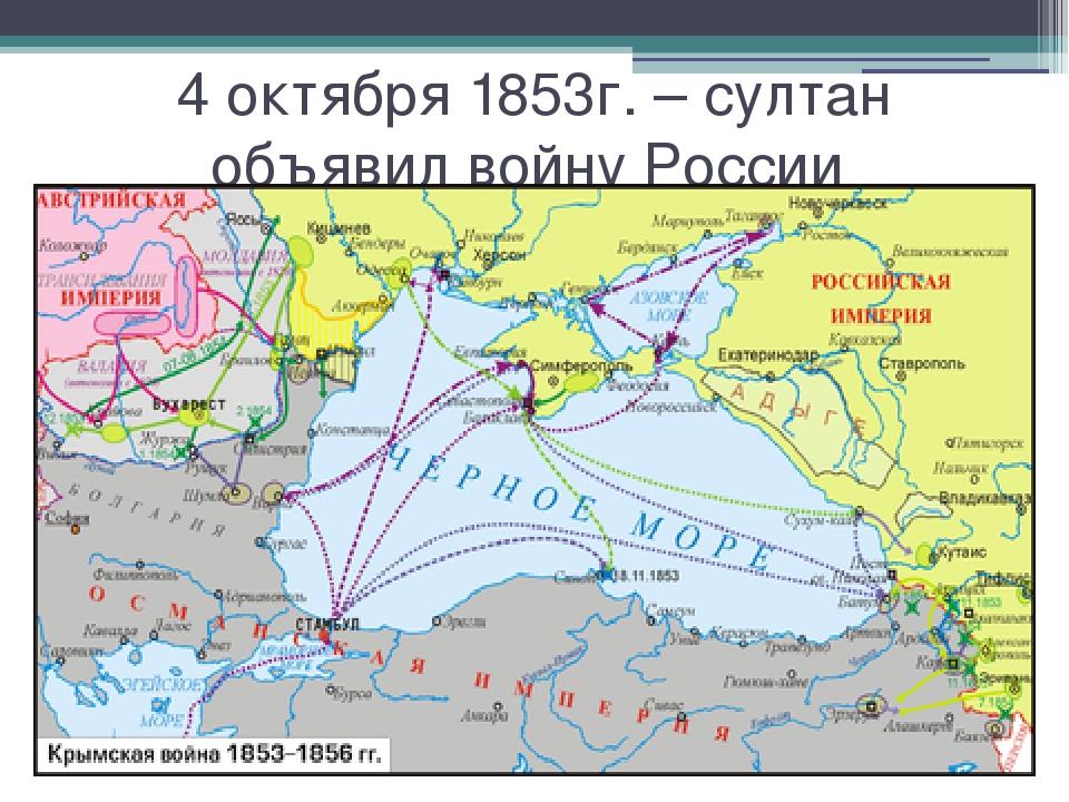 4 октября 1853г. – султан объявил войну России