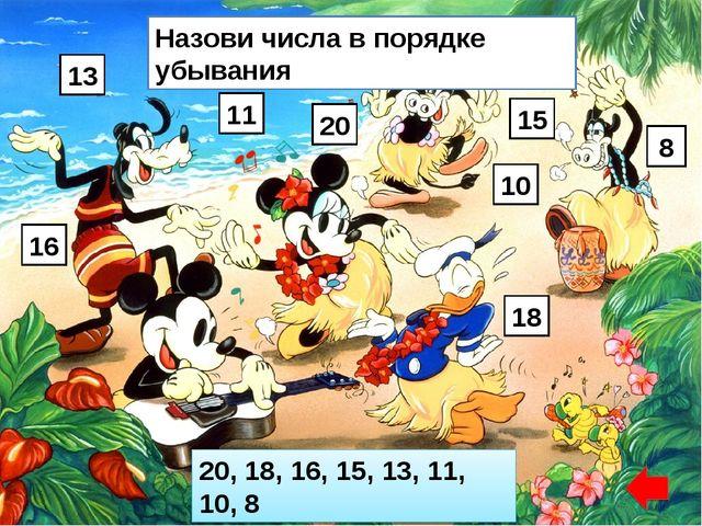 Назови числа в порядке убывания 13 16 11 20 15 10 18 8 20, 18, 16, 15, 13, 11...