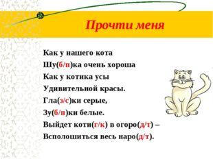 Прочти меня Как у нашего кота Шу(б/п)ка очень хороша Как у котика усы Удивите
