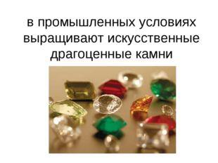 в промышленных условиях выращивают искусственные драгоценные камни