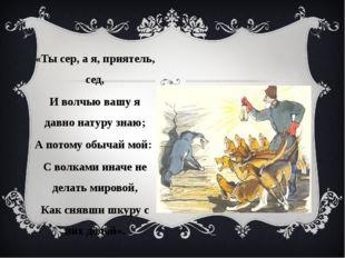 «Ты сер, а я, приятель, сед, И волчью вашу я давно натуру знаю; А потому обыч
