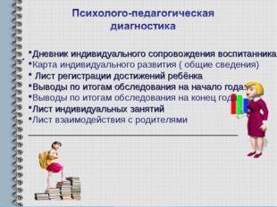 Дневник индивидуального сопровождения воспитанника Карта индивидуального разв