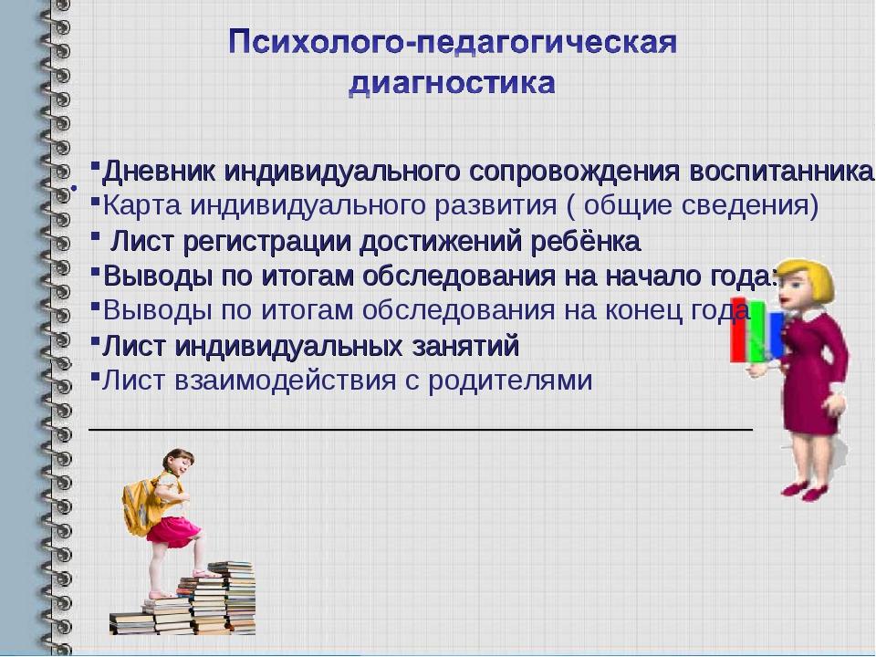 Дневник индивидуального сопровождения воспитанника Карта индивидуального разв...