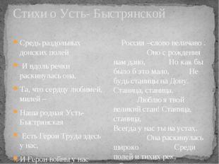 Стихи о Усть- Быстрянской Средь раздольных донских полей И вдоль речки раскин