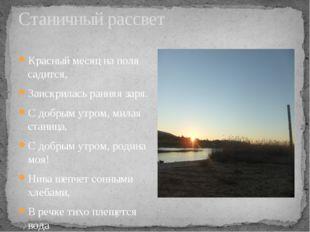 Станичный рассвет Красный месяц на поля садится, Заискрилась ранняя заря. С д