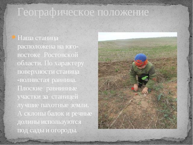 Географическое положение Наша станица расположена на юго-востоке Ростовской...