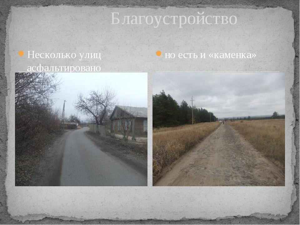 Несколько улиц асфальтировано Благоустройство но есть и «каменка»