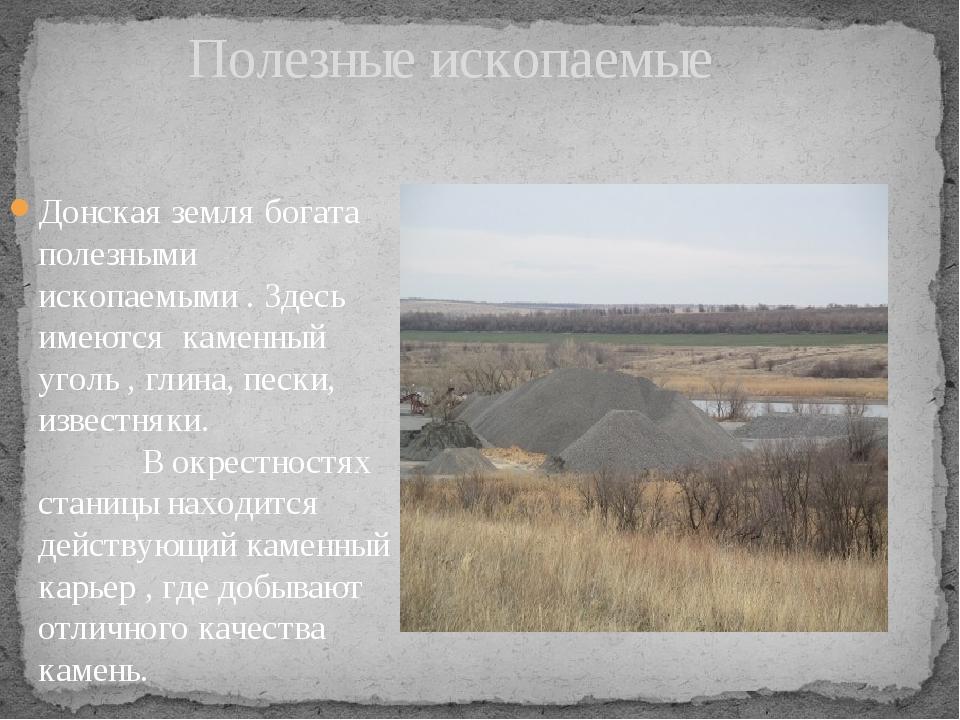 Полезные ископаемые Донская земля богата полезными ископаемыми . Здесь имеют...