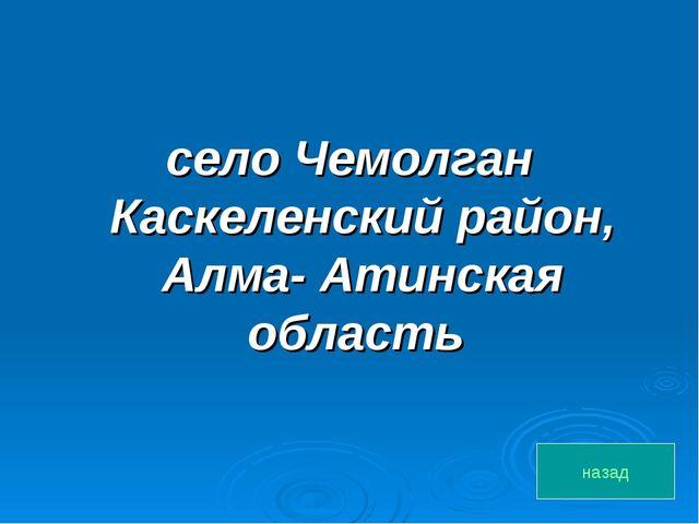 село Чемолган Каскеленский район, Алма- Атинская область назад