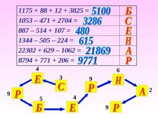 3 4 9 4 5 9 6 2 9 1175 + 88 + 12 + 3825 = 1053 – 471 + 2704 = 887 – 514 + 1