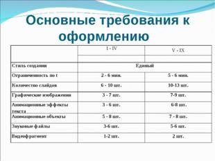 Основные требования к оформлению  I - IVV - IX  Стиль создания Единый О