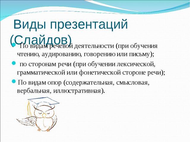 Виды презентаций (Слайдов) По видам речевой деятельности (при обучения чтени...