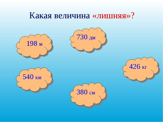 Какая величина «лишняя»? 730 дм 426 кг 380 см 540 км 198 м